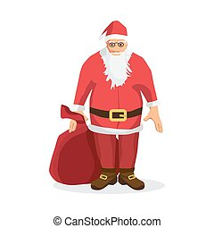 Santa Claus with a big bag of gifts for Christmas card. Cartoon style vector illustration isolated on white background