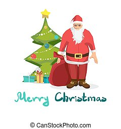 Santa Claus with a big bag on background tree. Cartoon style vector Greeting Card. Merry Christmas lettering