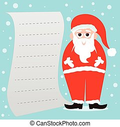 Santa Claus with a blank paper