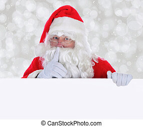 Santa Claus with a Blank Sign making Shh gesture