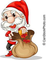Santa Claus with a brown sack - Illustration of Santa Claus...