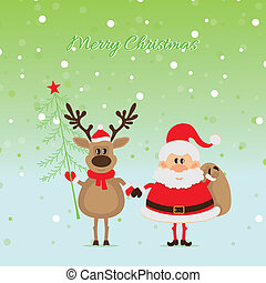 Santa Claus with  a deer