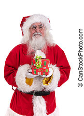 Santa Claus with a gift in his hand