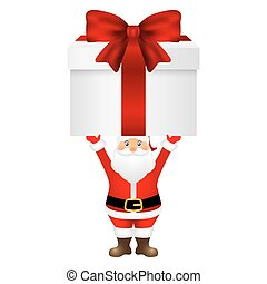 Santa Claus with a gift on  white background