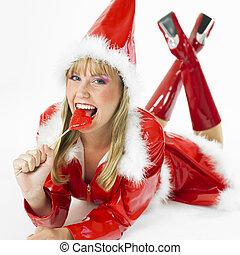Santa Claus with a lollipop