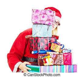 Santa claus with a lot of gifts