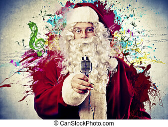 Santa Claus with a microphone on abstract background