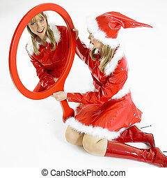 Santa Claus with a mirror