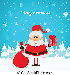 Santa Claus with a red bag