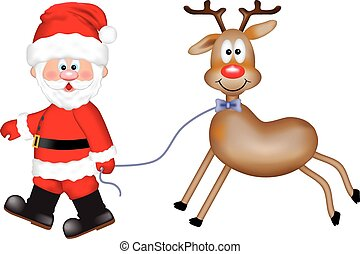 Santa Claus with a reindeer
