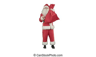Santa claus with a sack of gifts dance on white background....