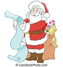 Santa Claus with a scroll and sack - happy Santa Claus with...