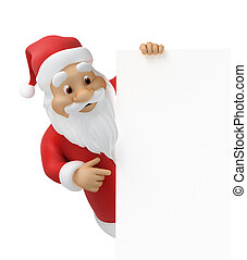 Santa claus with a sheet of paper