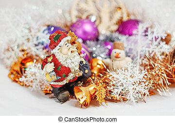 Santa Claus with a snowman
