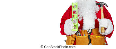 Santa Claus with a tool belt. - Santa Worker with a tool...