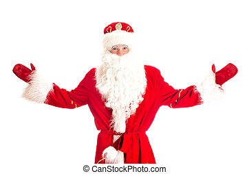 Santa Claus with arms wide open. Isolated on white.