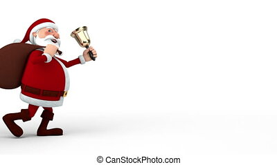 Santa Claus with bag and bell
