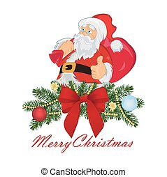 Santa Claus with bag, Christmas concept, vector illustration