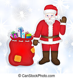Santa claus with bag full of gifts