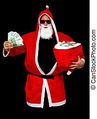 Santa Claus with bag full of money - Santa Claus with bag...