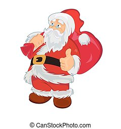 Santa Claus with bag, vector illustration