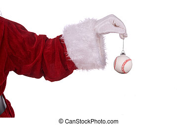 Santa Claus with baseball ornament in his white gloved hand