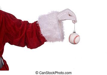 Santa Claus with baseball ornament