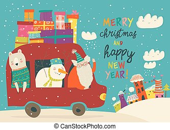 Santa Claus with bear and snowman riding in car