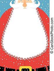 Santa Claus with beard. Christmas postcard. Big white beard...