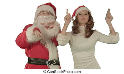 Santa claus with beautiful dancing girl on white background