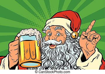Santa Claus with beer, pop art retro vector illustration....