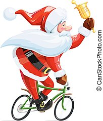 Santa claus with bell at bicycle. Christmas cartoon...