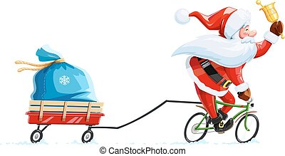 Santa claus with bell at bicycle. Christmas cartoon character.