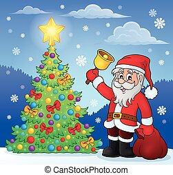Santa Claus with bell by Christmas tree - eps10 vector...