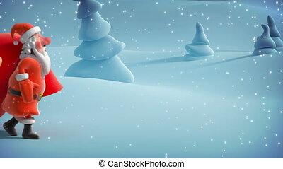 Santa Claus with big bag. 3d animat