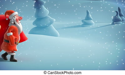 Santa Claus with big bag. 3d animat