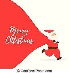 Santa Claus with big bag and Merry Christmas