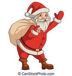 Santa claus with big sac of gifts isolated