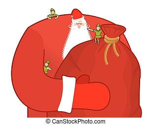 Santa Claus with big sack of gifts.
