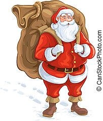 Santa claus with big sack of gifts