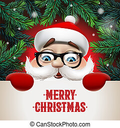 Santa Claus with big signboard. Merry Christmas lettering design. Creative typography for holiday greeting, vector illustration.