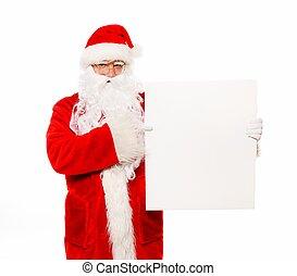 Santa Claus with  blank notice board