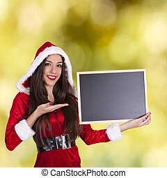 santa claus with board on background