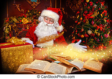 Santa Claus with books - Christmas, mail of Santa Claus....