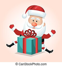 santa claus with box gift blue isolated