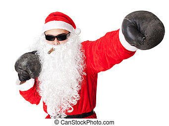 Santa Claus with boxing glove