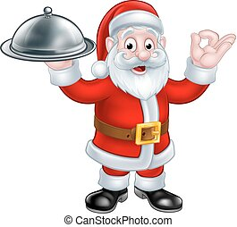 Santa Claus with Christmas Food Plate