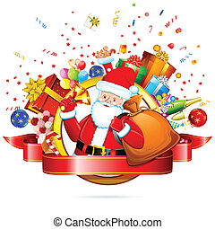 Santa Claus with Christmas Gift - illustration of santa...