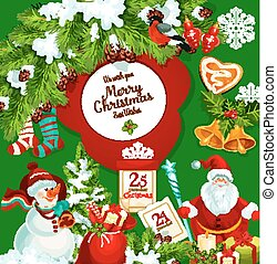 Santa Claus with Christmas gift greeting poster
