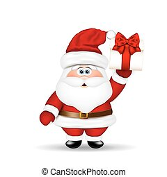 Santa Claus with Christmas gift in hand.
